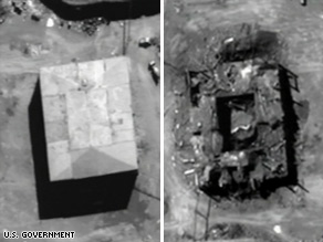 Before and after photographs of Syrian nuclear site, located in the Deir ez-Zor region bombed by Israel on September 6, 2007, preventing the remote location of nuclear facilities for weapons manufacturing by use of Iranian proxy Syria. Raid was initiated by the Israelis after United States refused cooperation or action claiming the site was not a nuclear weapons site. North Korean observer scientists and technicians were apparently killed as per North Korean complaints against Israel for the raid.