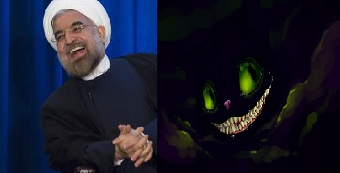 Iranian President Hassan Rouhani smiling for report on how he and Iran charmed the world reminding all of the evil laugh as the Cheshire Cat faded away leaving only his wicked smile and it just fit calling him the 'Smiling Cheshire Man'