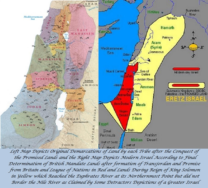 Left side map depicts the division of the Promised Land amongst the tribes and right side map compares the modern promised land from the Jordan west to the Mediterranean Sea compared to the maximum of area during King David's and King Solomon's reigns.