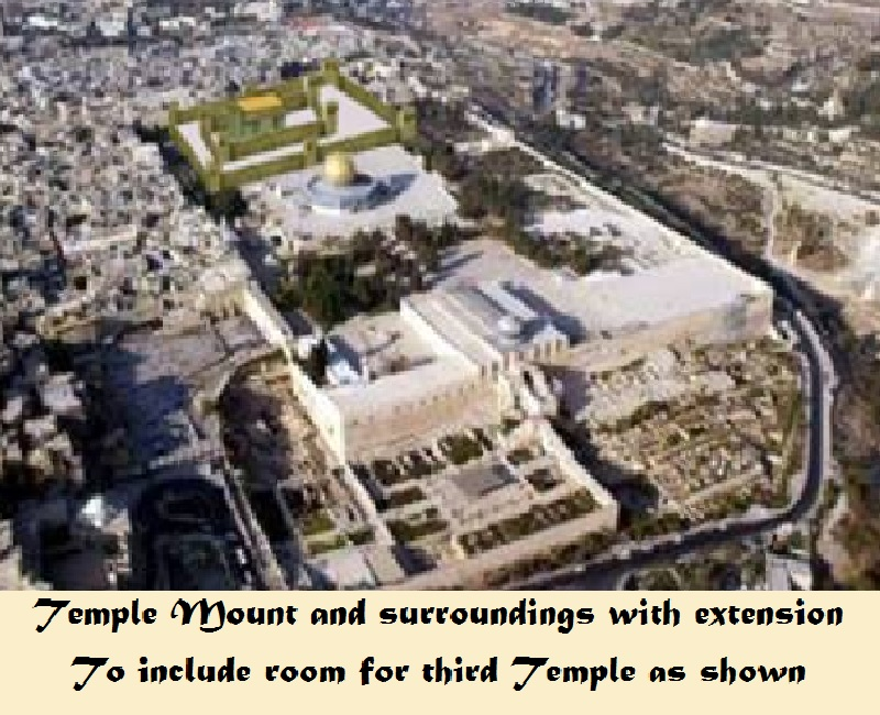 Temple Mount with extension to make sufficient room for the Thirs Temple to hace its own plaza as displayed at far end of plaza