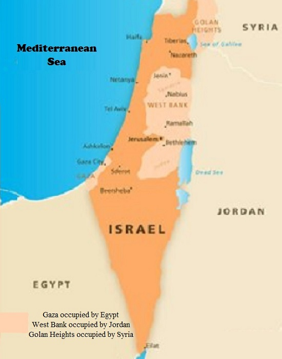 Occupied Israel where Syria Occupied the Golan Heights While Egypt Occupied the Gaza Strip and Jordan Occupied Judea and Samaria They Renamed West Bank