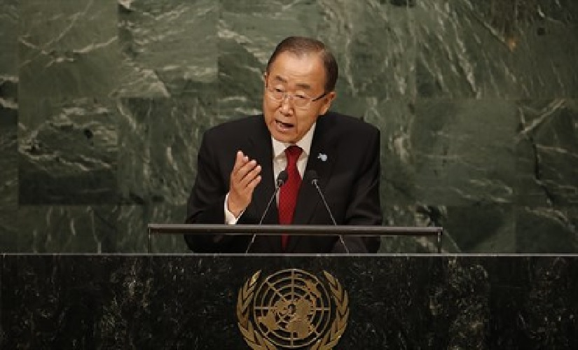 Ban Ki-moon pictured at his New York, Turtle Bay, United Nations high podium which must make him feel almost omnipotent instead of as the inept stooge of Mahmoud Abbas Hamas Iran and other terrorists