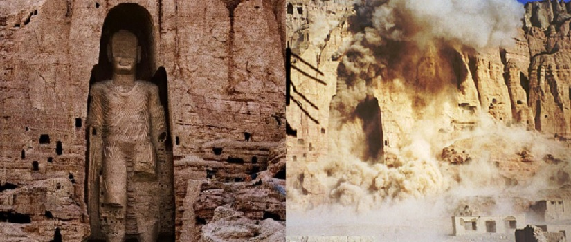 Buddhas of Bamiyan before pictured on the left and being destroyed with explosives by Taliban forces on the right