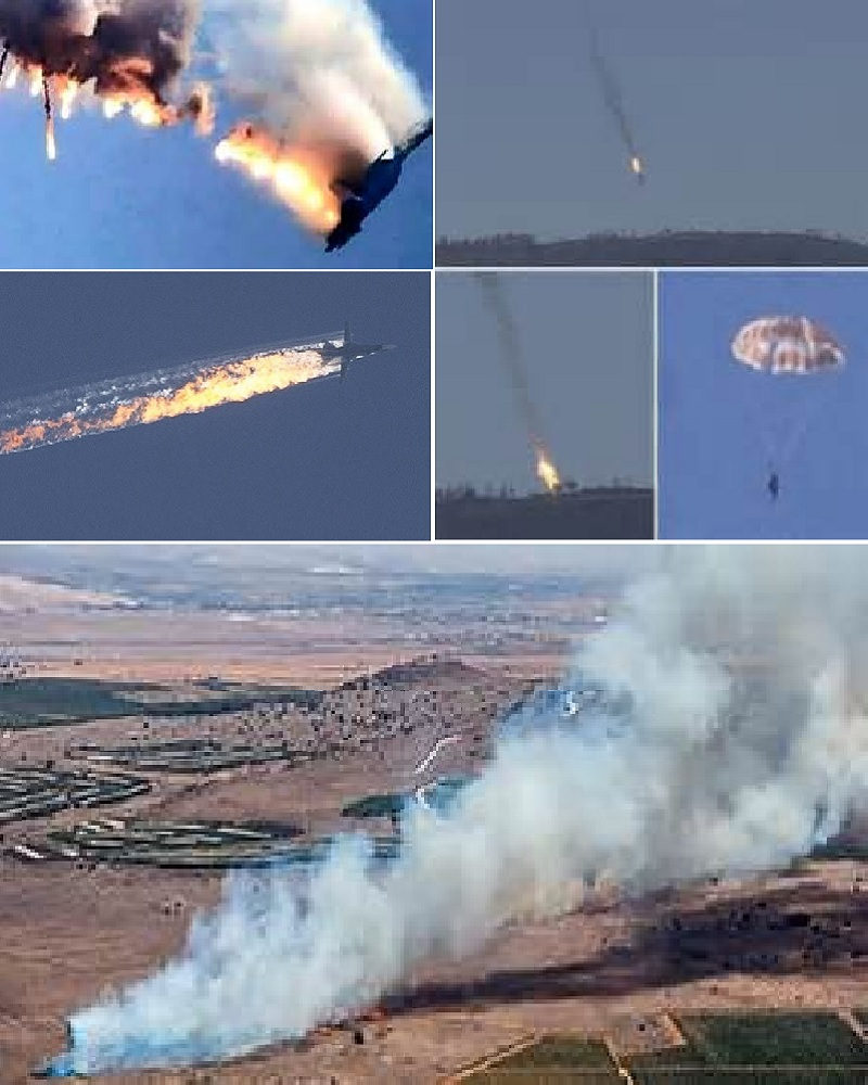 Various Stages of Russian Fighter/Bomber During Turkey's Provocation Over Claimed Airspace Violation by the Russian Pilot