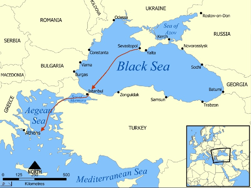 From the Sevastopol Docks and Shipyards Across the Black Sea then Through the Bosphorus Strait and the Dardanelles to the Mediterranean Sea and thus the Atlantic Ocean