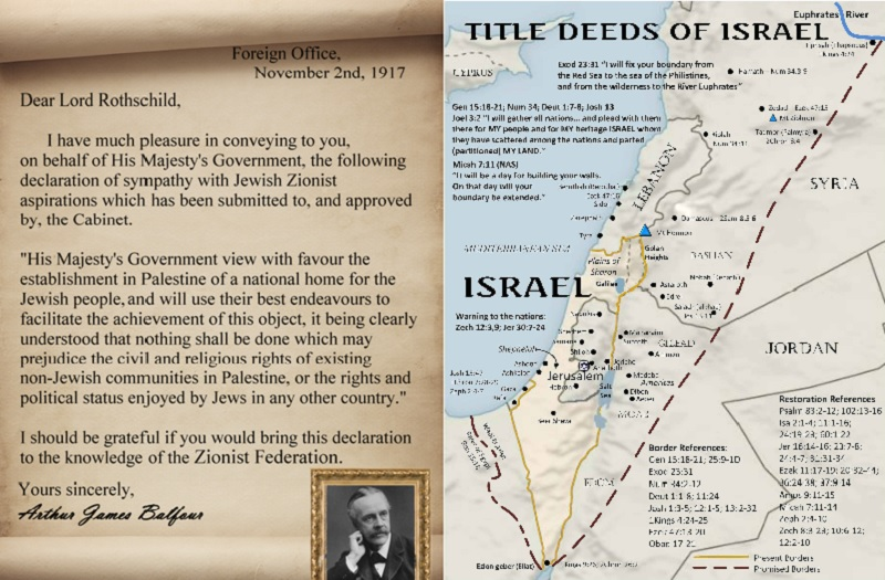 Balfour Declaration and Initial Proposed Map and Lands