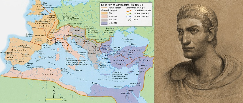Emperor and Pope Constantine the Great with Map of Conquest Preserving the Byzantine Empire