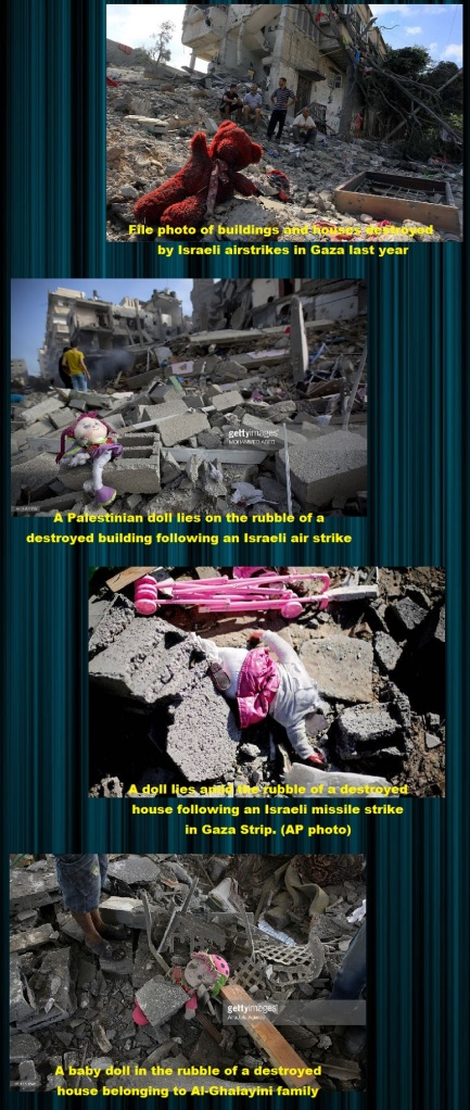 Photographs of the destroyed house with the baby dolls sitting centered in the rubble without a speck of dust all pristine and untouched