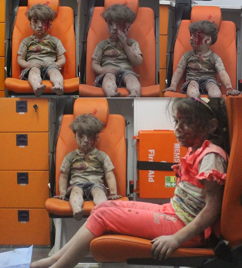 Five Year Old Syrian Omran Daqneesh sitting in Ambulance in Aleppo Syria After Being Pulled from Beneath Rubble of Collapsed Building from Bombing Attack