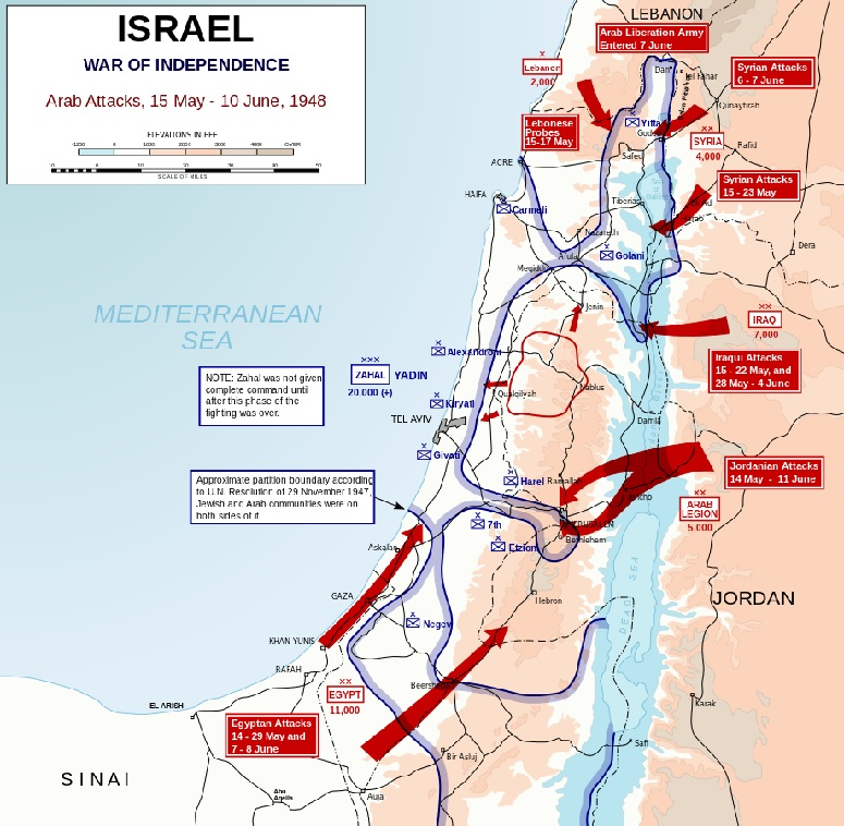 Initial Invasion Routes by Arab Armies on May 15, 1948