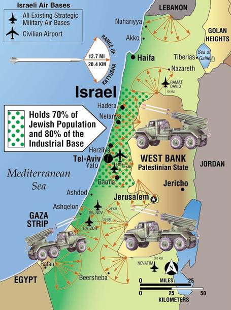 Katyusha Rocket Range by Mark Langfan Depicting the Near Complete Coverage of the Heart of Israel by Even the Smallest Home-made Rockets Both Hamas and Fatah Are Capable of Producing in Bulk