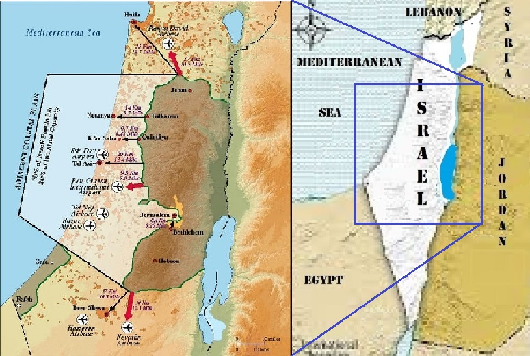 The Real Truth About Israel in Stark Relief Graphically Displayed Compared Indefensible Mid-Section vs. Annexed Judea Samaria and Gaza