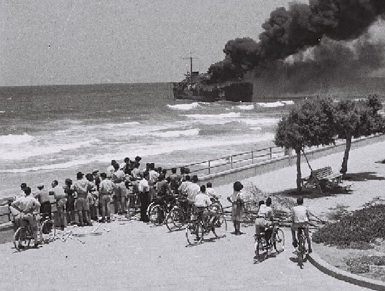 Shelling and Sinking of the Ship the Altalena off the Tel Aviv Beach