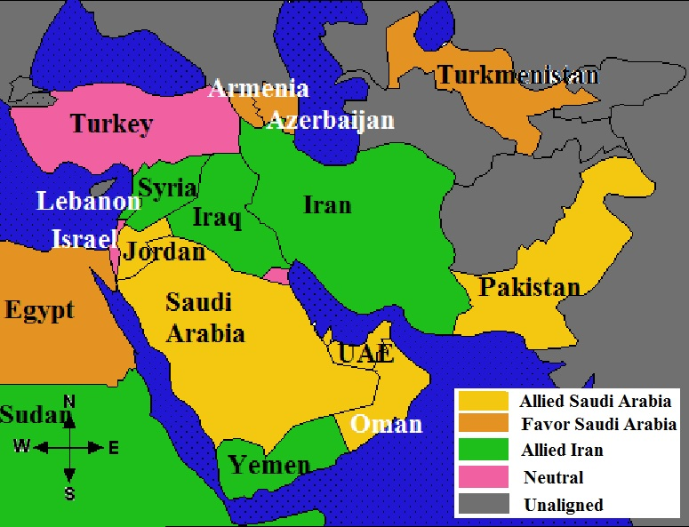 Saudi Arabia, Iran, the Gulf States and the Length of the Persian Gulf with the Straits of Hormuz