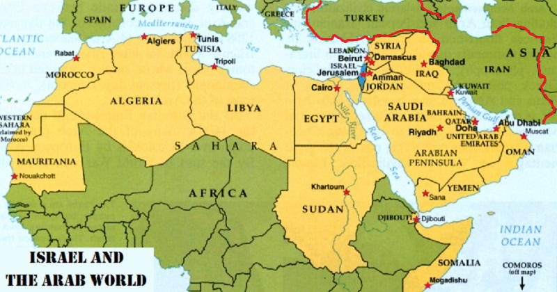 Arab World Showing Twenty-One of Twenty-Two States with Comoros Off the Map South, Israel in Blue and with Iran and Turkey outlined in Red