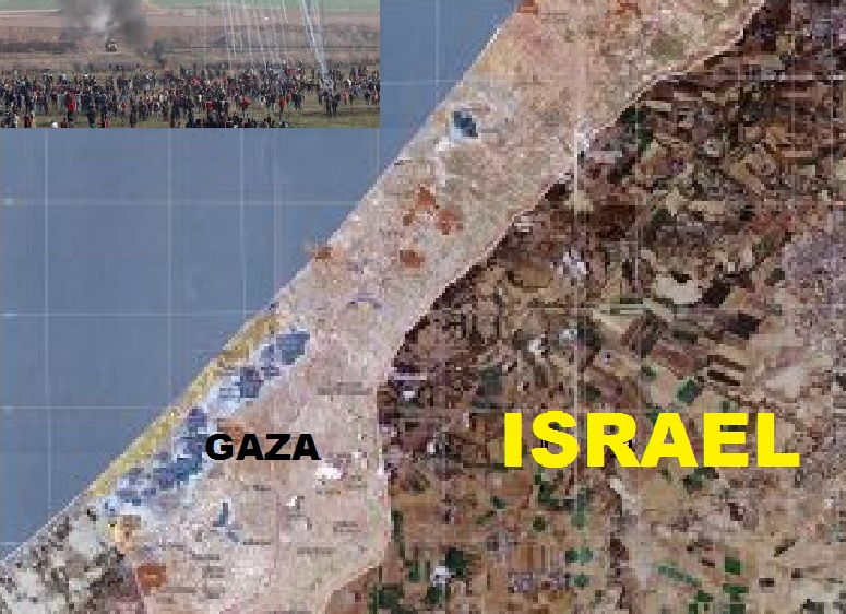 Gaza-Israel Map with Rioting Image Insert