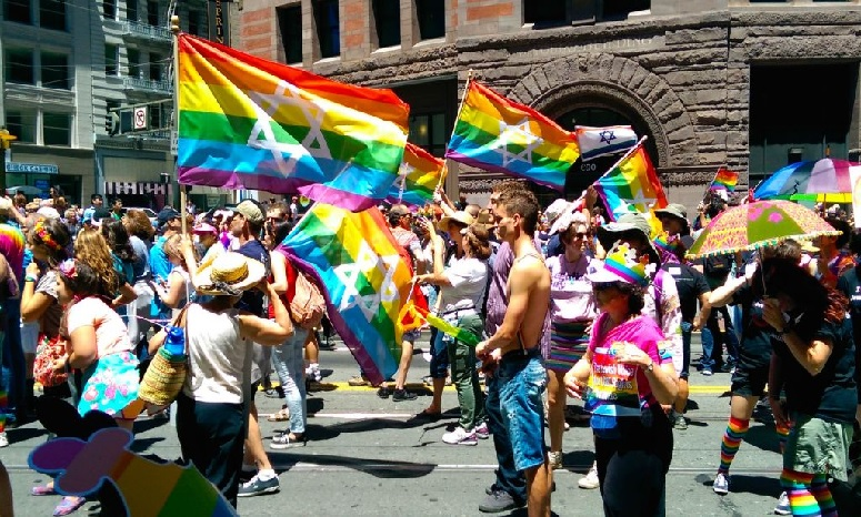 Participants in the San Francisco Pride Parade Showing Their Jewish and Israeli pride as well